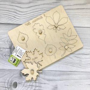 Развивающая игрушка из дерева — Чей листик
