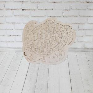Деревянный пазл алфавит — Черепашка