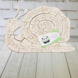 Пазл алфавит из дерева — Улитка