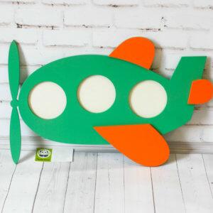 Деревянная фоторамка для детей самолет