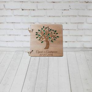 Книга пожеланий на свадьбу из дерева