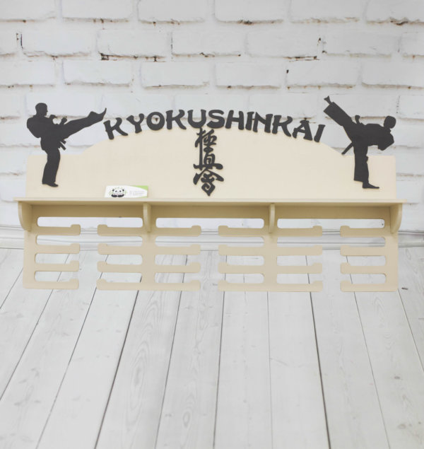 Медальница спортивная из дерева для борцов — Киокушинкай