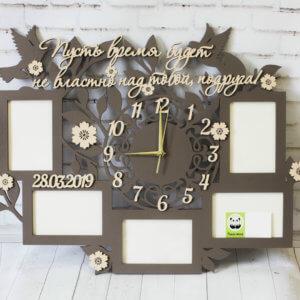 Фоторамка из дерева ручной работы с часами