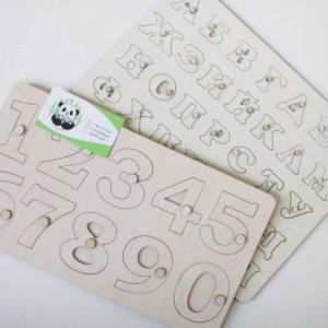Алфавит цифры пазлы из дерева