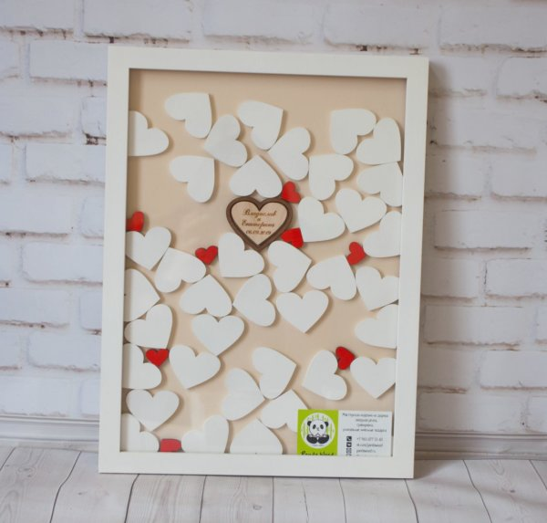 Деревянная рамка для свадебных пожеланий
