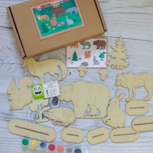 Деревянная сказка раскраска — Лесные животные