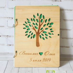 Книга из дерева для свадебных пожеланий