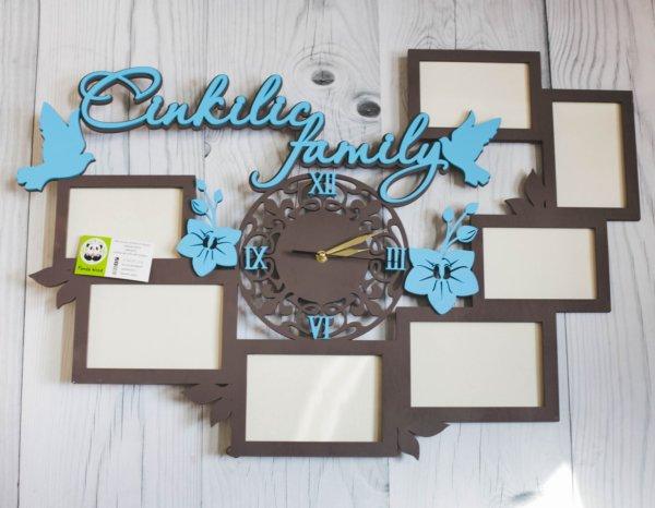 Деревянные часы с фоторамками