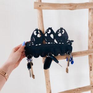 Ключница настенная, вешалка для ключей «Птички»